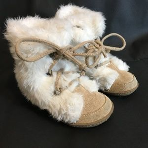 GAP Baby Toddler Size 7 Leather & Faux Fur Boots